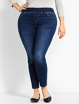 Plus Size Exclusive Luxe Stretch Denim Pull-On Jegging - Curvy Fit/Saratoga