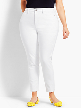 Womans Exclusive Denim Jegging - Curvy Fit/White