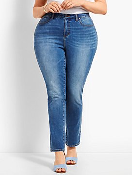 Plus Size Exclusive Comfort Stretch Straight Leg Jeans - Curvy Fit/True Blue
