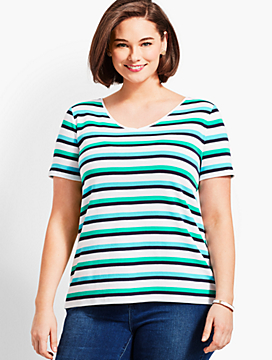 Savannah Stripe V-Neck Tee