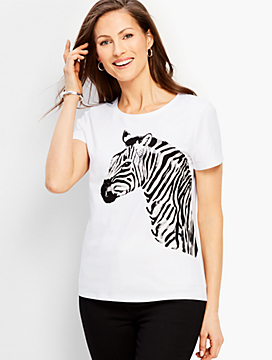 Graphic Zebra Crewneck Tee