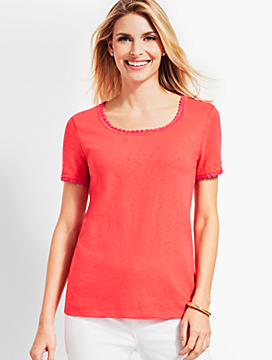 Crochet-Trim Scoop-Neck Tee