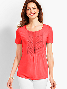 Woven Front Short-Sleeve Top