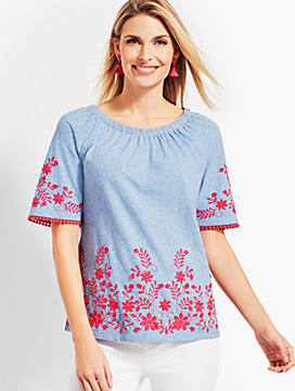 Embroidered Zala Stripes Top
