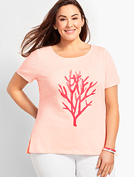 Embellished Coral Watercolor Tee