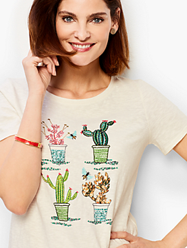 Embellished Flowering Cactus Tee