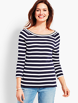 Double-Scoop Neck Tee - Stripe