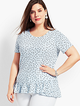 Martinique Dot Tee With Ruffle