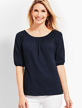On-The-Shoulder Elbow-Sleeve Top
