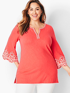 Embroidered Flare-Sleeve Split-Neck Tunic