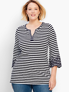 Ocean City Stripe Embroidered Flare-Sleeve Split-Neck Tunic