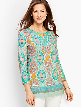 Moroccan Medallion Split-Neck Tunic