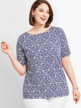Scallop-Neck Elbow-Sleeve Tee-Tile Print