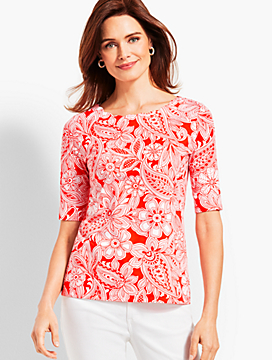 Scallop-Neck Elbow-Sleeve Tee-Etched Paisley