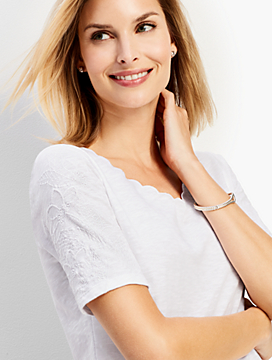 Scalloped V-Neck Embroidered-Sleeve Tee