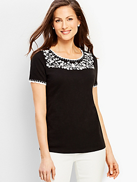 Embroidered-Yoke Crochet Trim Tee