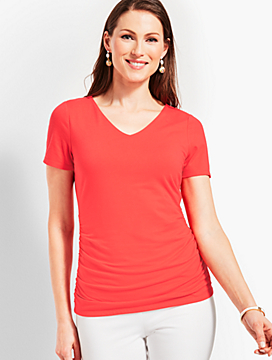 Fairleigh Ruched V-Neck Tee