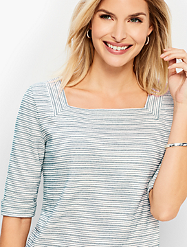 Roll-Cuff Square-Neck Tee - Metallic Stripe