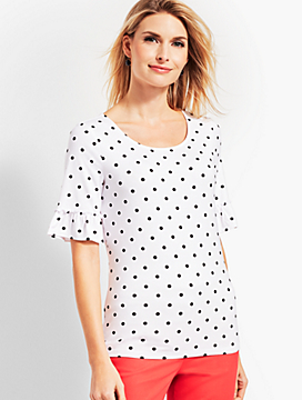 Dotted Flounce-Sleeve Top