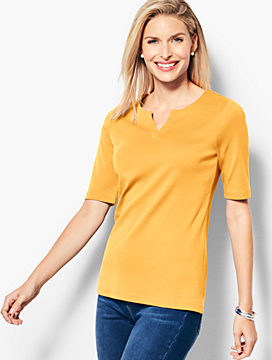 Essential Pima Split-Neck Tee
