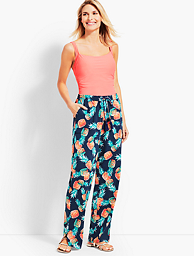 Crinkle-Cotton Pineapple Party Beach Pant