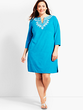 Plus Size Exclusive Embroidered Terry Tunic