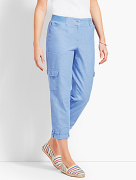 Chambray Poplin Relaxed Crop