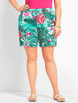 "Womans Exclusive 7"" Tropical Paradise Scallop Short"