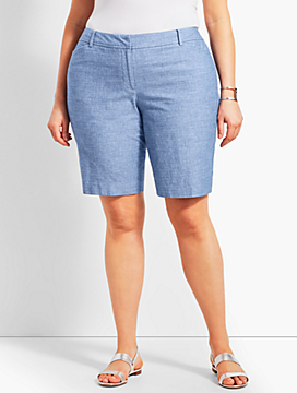 "Womans Exclusive 10 1/2"" Chambray Perfect Short - Curvy Fit"