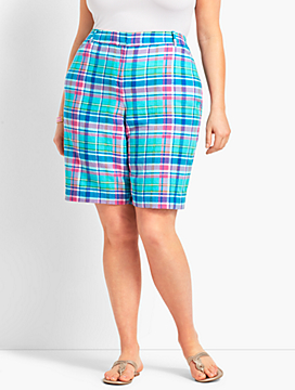 "Womans Exclusive 10 1/2"" Sea Madras Perfect Short - Curvy Fit"