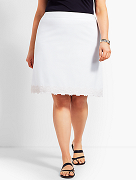 Lace-Trimmed Stretch Cotton Canvas Skirt