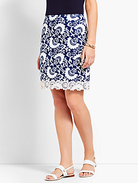 Lace-Trimmed Stretch Cotton Canvas Skirt-Woodblock Floral
