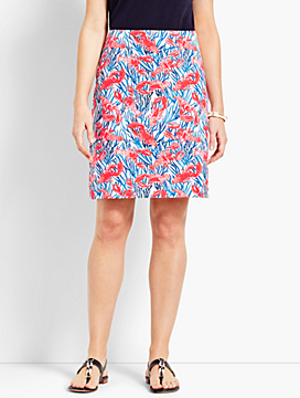 Stretch Cotton Canvas Skirt-Lobster Print