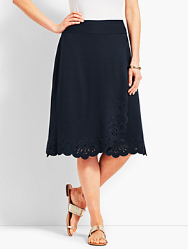 Embroidered-Hem Jersey Skirt