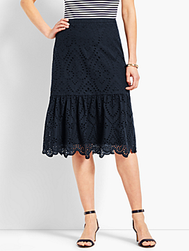 Eyelet Fit-and-Flare Skirt