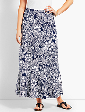 Etched Paisley Jersey Maxi Skirt