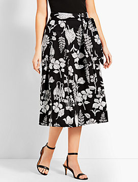 Graphic Garden Pleated Midi Skirt