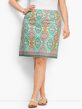 Moroccan Medallion Stretch Cotton Canvas Skirt