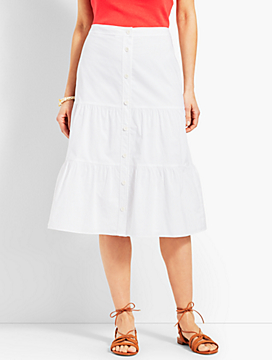 Tiered Button-Front Poplin Skirt