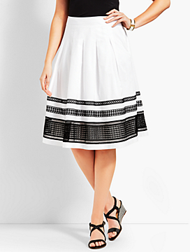 Pleated Fit-And-Flare Poplin Skirt
