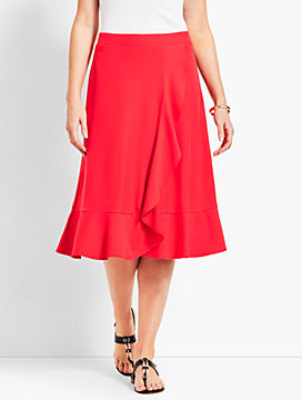 Cascading Faux-Wrap Jersey Skirt