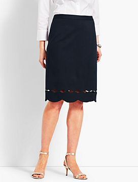 Scallop-Hem Ponte Pencil Skirt