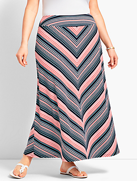 Fresh Stripe Jersey Maxi Skirt