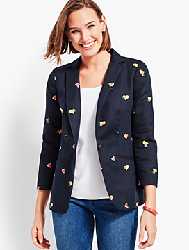 Embroidered Fruits Blazer