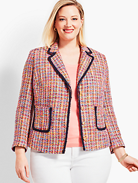 Tweed Contrast-Trim Jacket