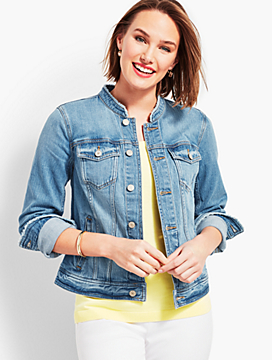 Frayed-Collar Stretch Denim Jacket