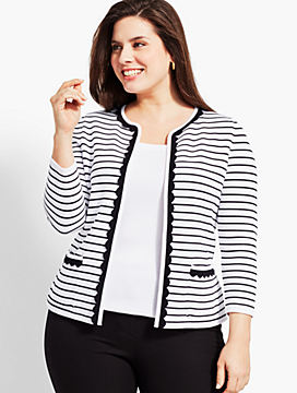 Scalloped-Edge Stripe Sweater Jacket