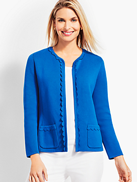 Scalloped-Edge Sweater Jacket