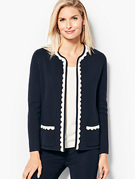 Tipped Scalloped-Edge Sweater Jacket