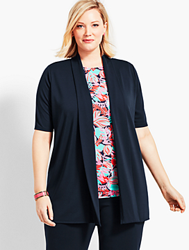 Plus Size Exclusive Elbow-Sleeve Flyaway Knit Jersey Cardigan